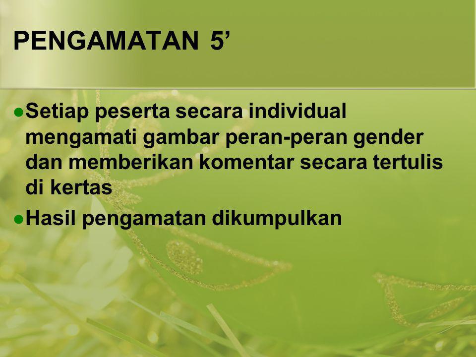 PENGAMATAN 5' Setiap peserta secara individual mengamati gambar peran-peran gender dan memberikan komentar secara tertulis di kertas Hasil pengamatan
