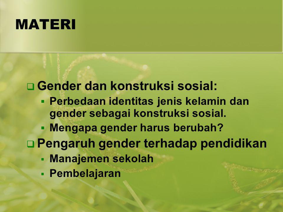 MATERI  Gender dan konstruksi sosial:  Perbedaan identitas jenis kelamin dan gender sebagai konstruksi sosial.  Mengapa gender harus berubah?  Pen