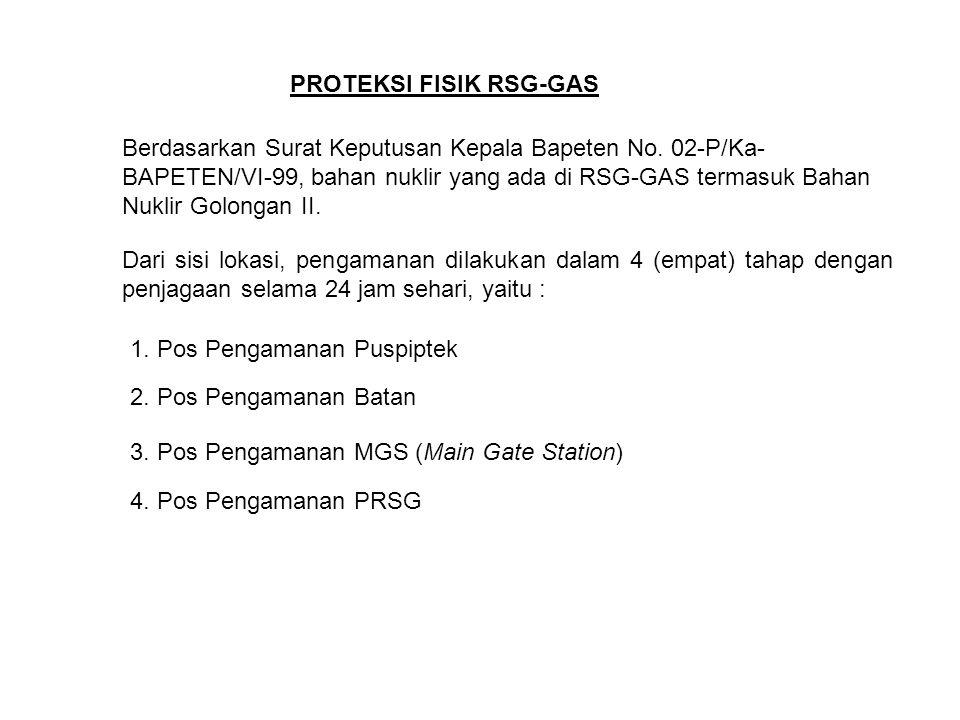 PROTEKSI FISIK RSG-GAS Berdasarkan Surat Keputusan Kepala Bapeten No. 02-P/Ka- BAPETEN/VI-99, bahan nuklir yang ada di RSG-GAS termasuk Bahan Nuklir G
