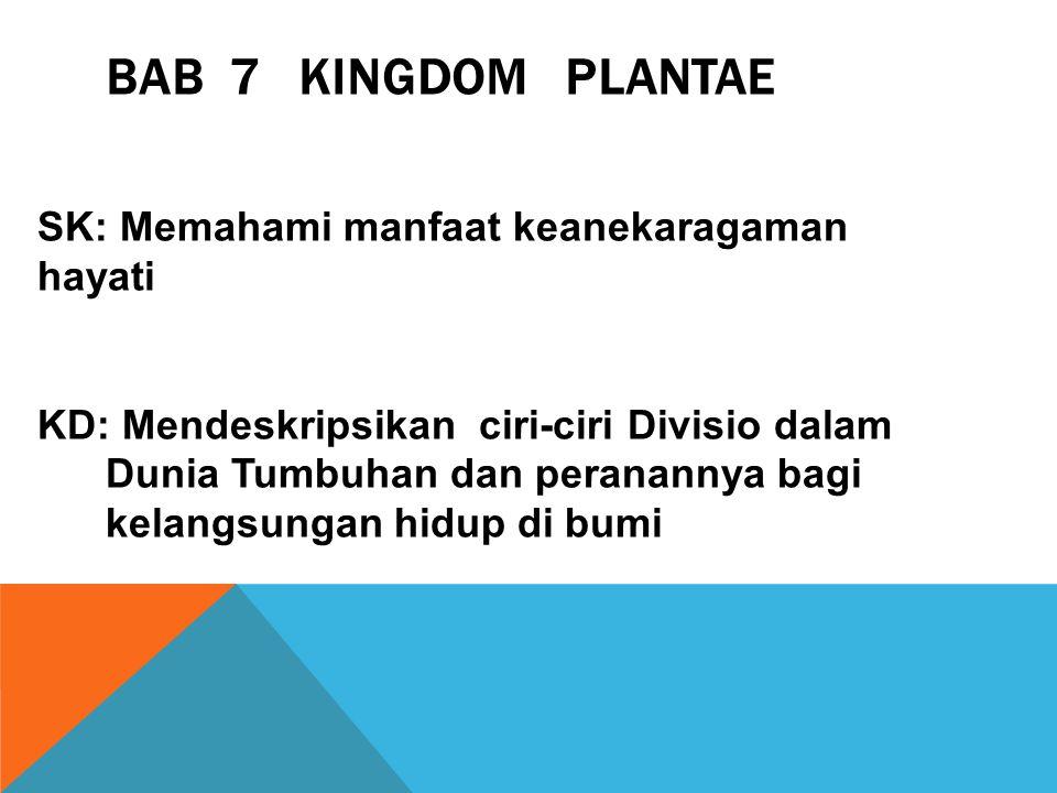 BAB 7 KINGDOM PLANTAE SK: Memahami manfaat keanekaragaman hayati KD: Mendeskripsikan ciri-ciri Divisio dalam Dunia Tumbuhan dan peranannya bagi kelangsungan hidup di bumi