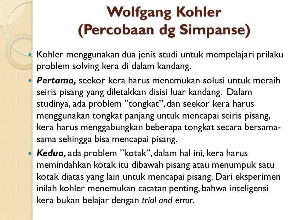 Wolfgang Kohler (Percobaan dg Simpanse) Kohler menggunakan dua jenis studi untuk mempelajari prilaku problem solving kera di dalam kandang. Pertama, s