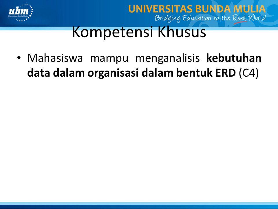 Kompetensi Khusus Mahasiswa mampu menganalisis kebutuhan data dalam organisasi dalam bentuk ERD (C4)