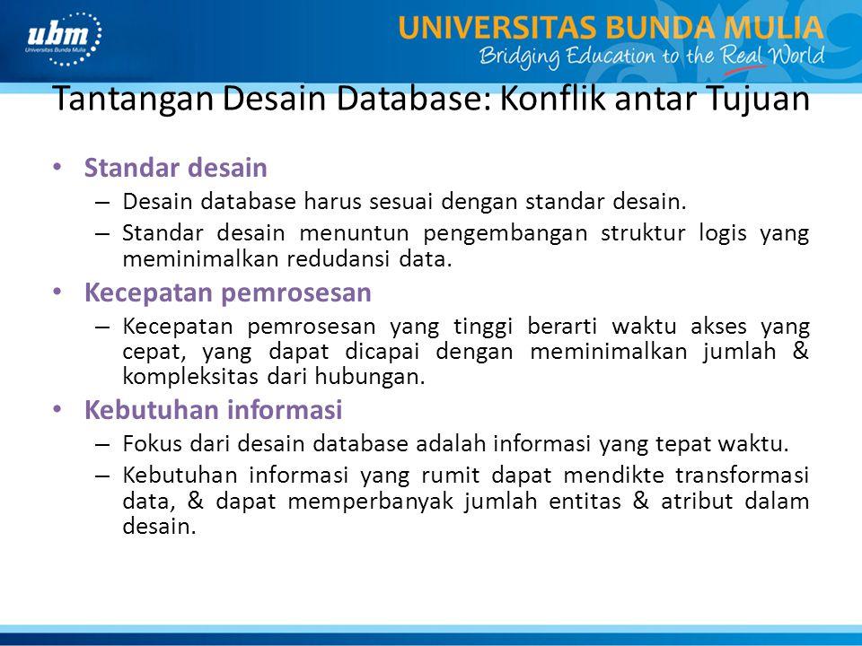 Tantangan Desain Database: Konflik antar Tujuan Standar desain – Desain database harus sesuai dengan standar desain.