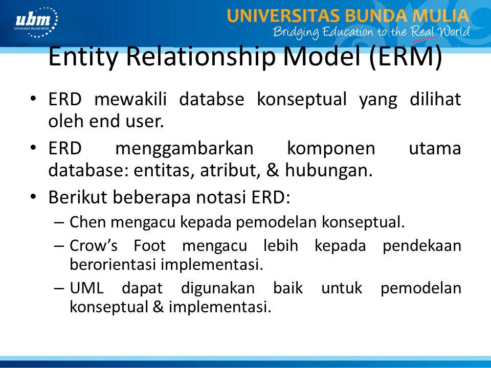Entity Relationship Model (ERM) ERD mewakili databse konseptual yang dilihat oleh end user.