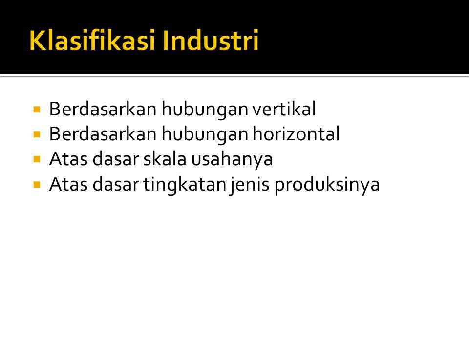  Berdasarkan hubungan vertikal  Berdasarkan hubungan horizontal  Atas dasar skala usahanya  Atas dasar tingkatan jenis produksinya