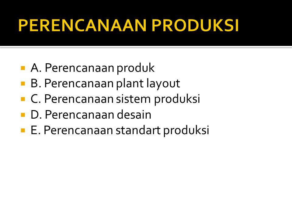  A. Perencanaan produk  B. Perencanaan plant layout  C. Perencanaan sistem produksi  D. Perencanaan desain  E. Perencanaan standart produksi
