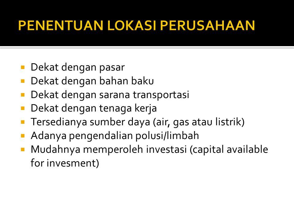  Dekat dengan pasar  Dekat dengan bahan baku  Dekat dengan sarana transportasi  Dekat dengan tenaga kerja  Tersedianya sumber daya (air, gas atau