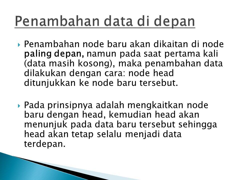  Penambahan node baru akan dikaitan di node paling depan, namun pada saat pertama kali (data masih kosong), maka penambahan data dilakukan dengan car
