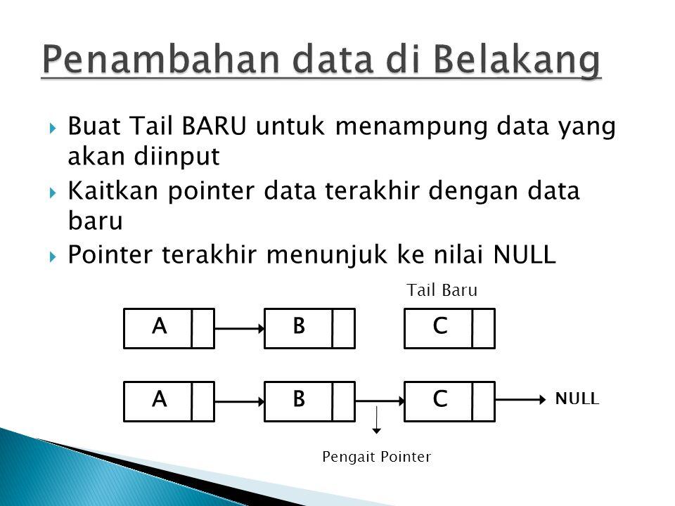  Penghapusan node tidak boleh dilakukan jika keadaan node sedang ditunjuk oleh pointer  Sebelum data terdepan dihapus, head harus ditunjukkan ke node sesudahnya terlebih dahulu agar list tidak putus