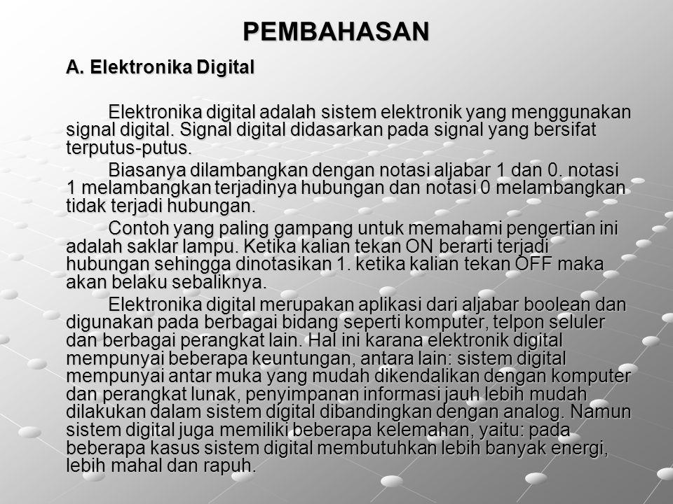 PEMBAHASAN A. Elektronika Digital Elektronika digital adalah sistem elektronik yang menggunakan signal digital. Signal digital didasarkan pada signal