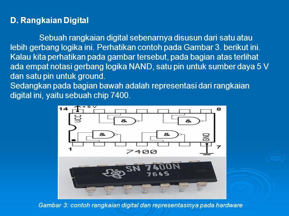 D. Rangkaian Digital Sebuah rangkaian digital sebenarnya disusun dari satu atau lebih gerbang logika ini. Perhatikan contoh pada Gambar 3. berikut ini