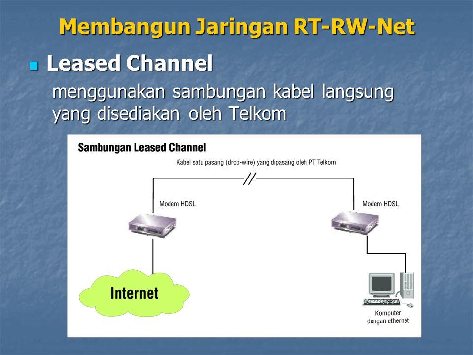 Leased Channel Leased Channel menggunakan sambungan kabel langsung yang disediakan oleh Telkom Membangun Jaringan RT-RW-Net