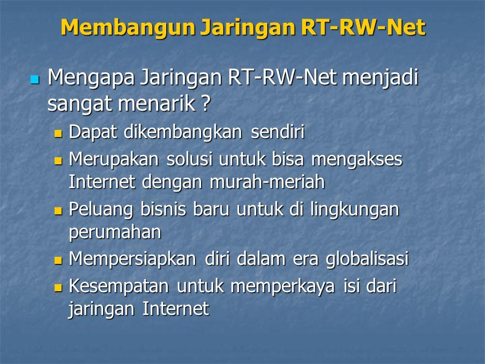 Membangun Jaringan RT-RW-Net Mengapa Jaringan RT-RW-Net menjadi sangat menarik ? Mengapa Jaringan RT-RW-Net menjadi sangat menarik ? Dapat dikembangka