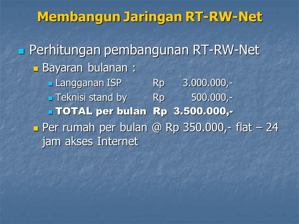 Membangun Jaringan RT-RW-Net Perhitungan pembangunan RT-RW-Net Perhitungan pembangunan RT-RW-Net Bayaran bulanan : Bayaran bulanan : Langganan ISPRp3.