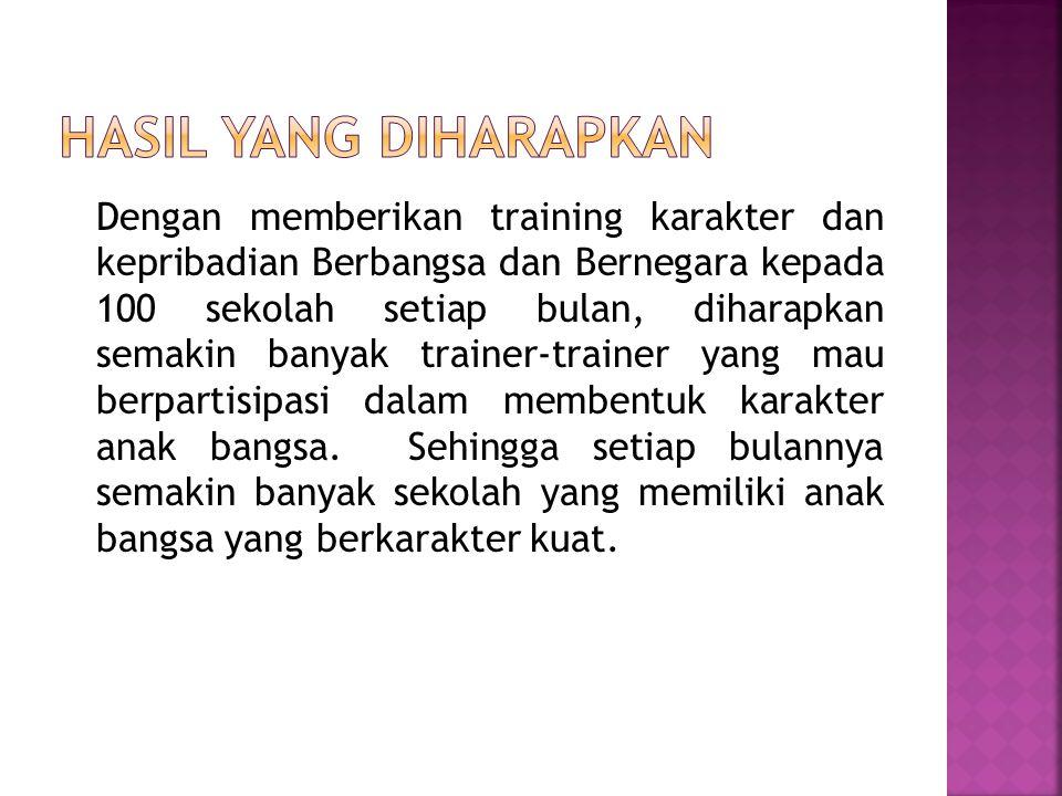 Dengan memberikan training karakter dan kepribadian Berbangsa dan Bernegara kepada 100 sekolah setiap bulan, diharapkan semakin banyak trainer-trainer yang mau berpartisipasi dalam membentuk karakter anak bangsa.