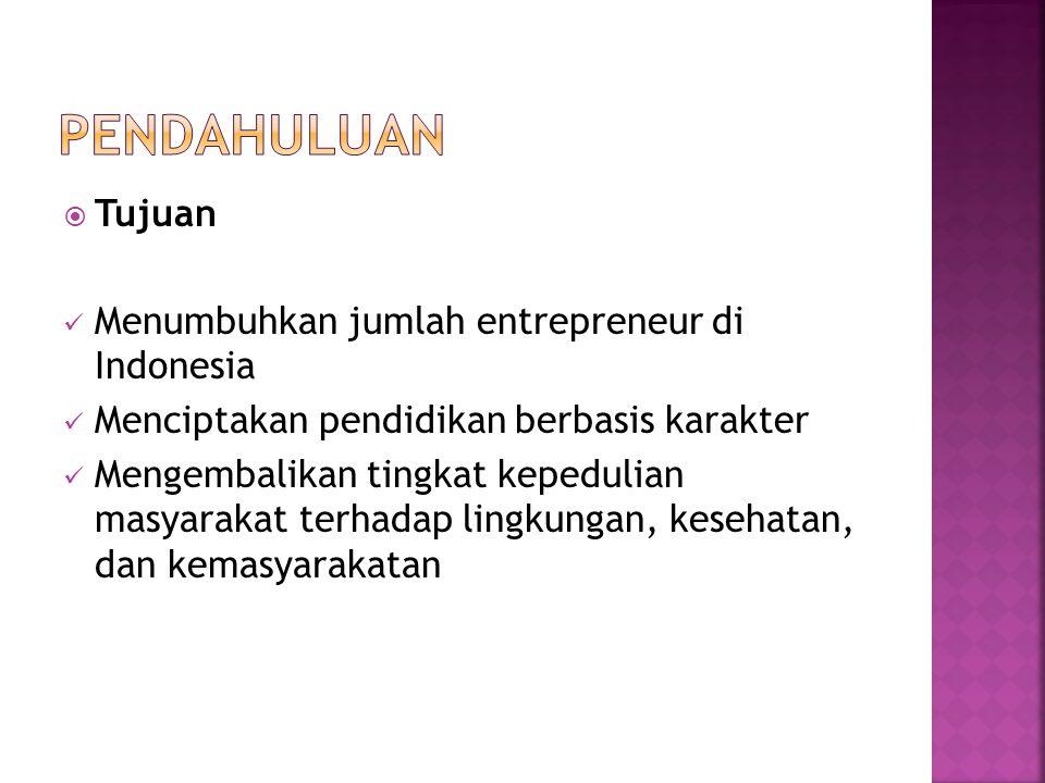  Tujuan Menumbuhkan jumlah entrepreneur di Indonesia Menciptakan pendidikan berbasis karakter Mengembalikan tingkat kepedulian masyarakat terhadap lingkungan, kesehatan, dan kemasyarakatan
