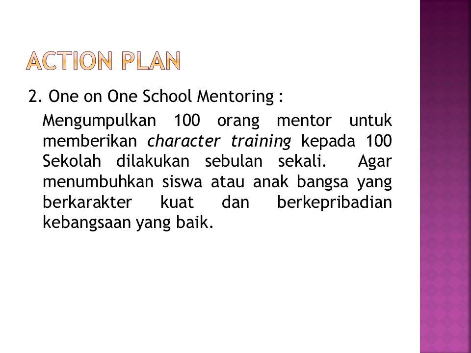 2. One on One School Mentoring : Mengumpulkan 100 orang mentor untuk memberikan character training kepada 100 Sekolah dilakukan sebulan sekali. Agar m