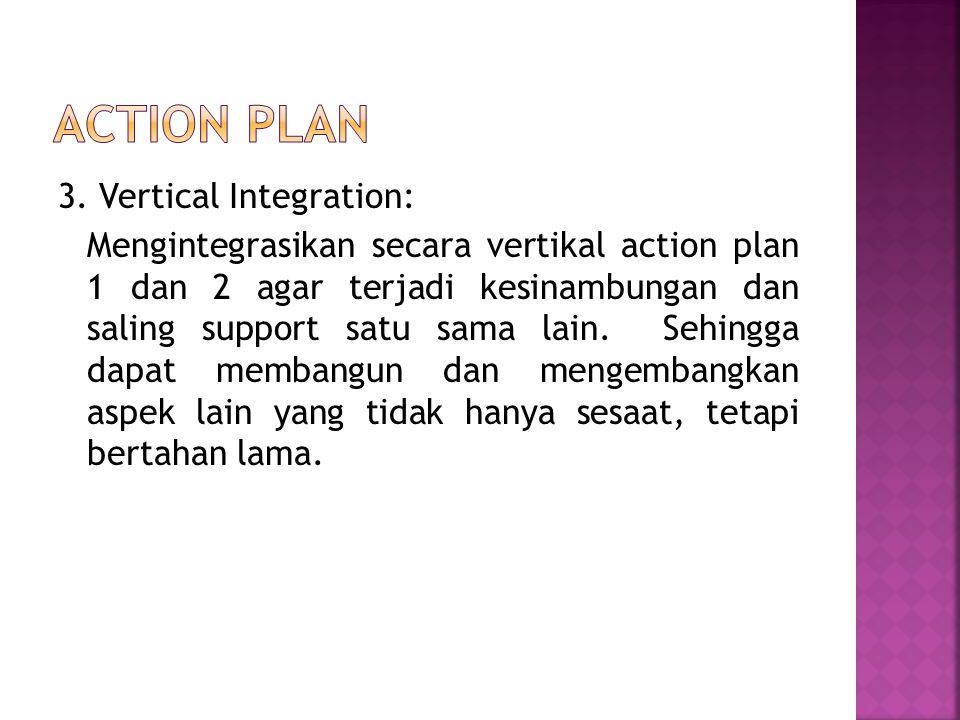 3. Vertical Integration: Mengintegrasikan secara vertikal action plan 1 dan 2 agar terjadi kesinambungan dan saling support satu sama lain. Sehingga d