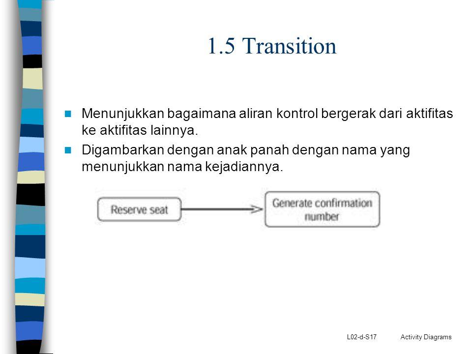 L02-d-S17 Activity Diagrams 1.5 Transition Menunjukkan bagaimana aliran kontrol bergerak dari aktifitas ke aktifitas lainnya. Digambarkan dengan anak