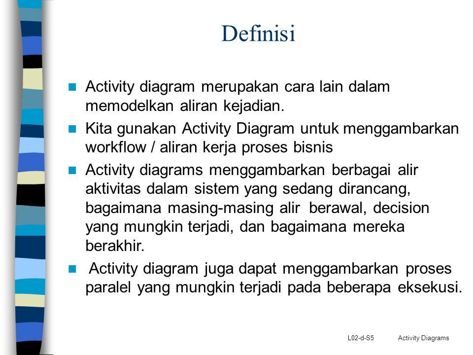 L02-d-S5 Activity Diagrams Definisi Activity diagram merupakan cara lain dalam memodelkan aliran kejadian. Kita gunakan Activity Diagram untuk menggam