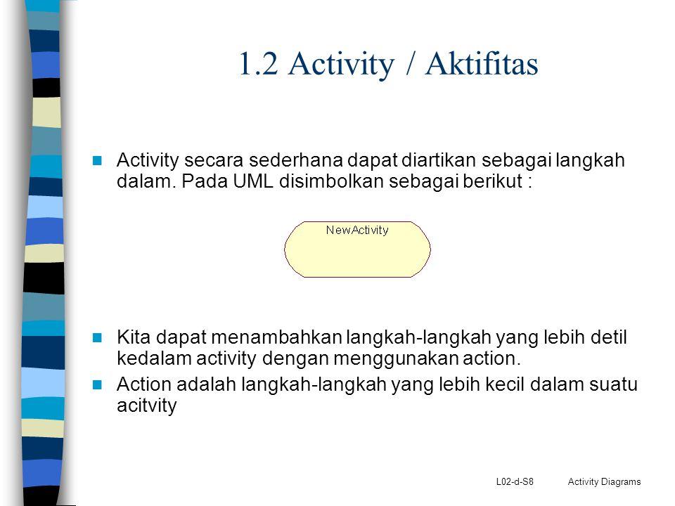 L02-d-S8 Activity Diagrams 1.2 Activity / Aktifitas Activity secara sederhana dapat diartikan sebagai langkah dalam. Pada UML disimbolkan sebagai beri