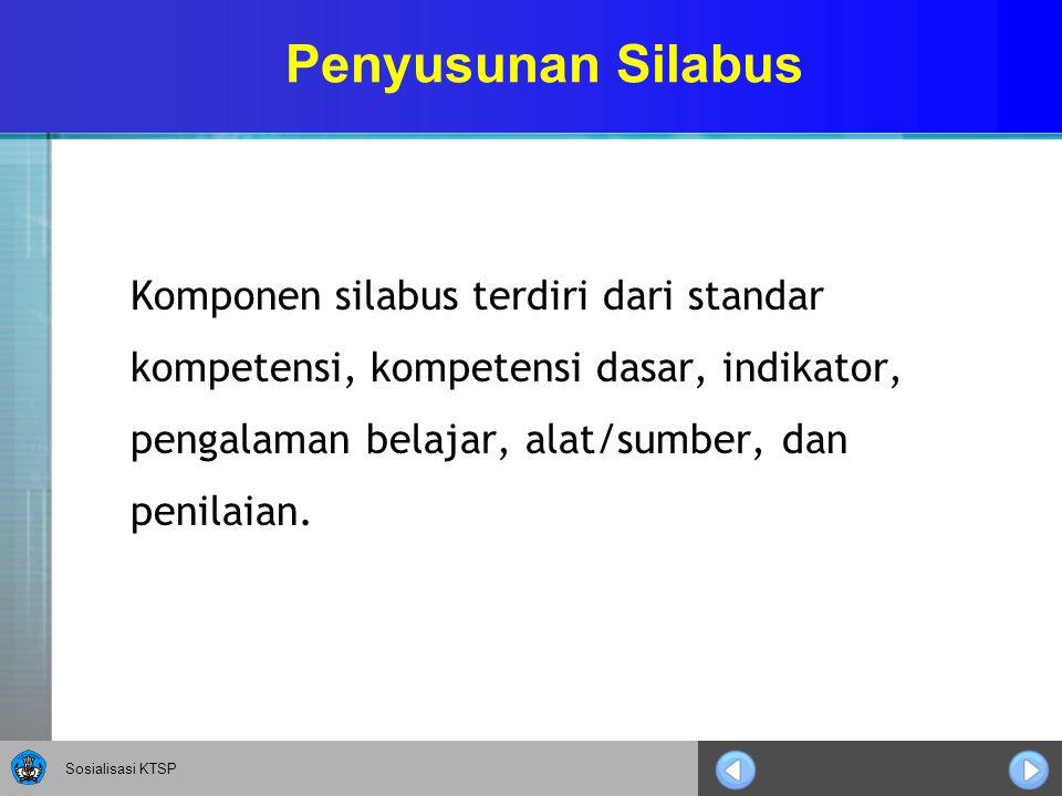 Sosialisasi KTSP Penyusunan Silabus Komponen silabus terdiri dari standar kompetensi, kompetensi dasar, indikator, pengalaman belajar, alat/sumber, da
