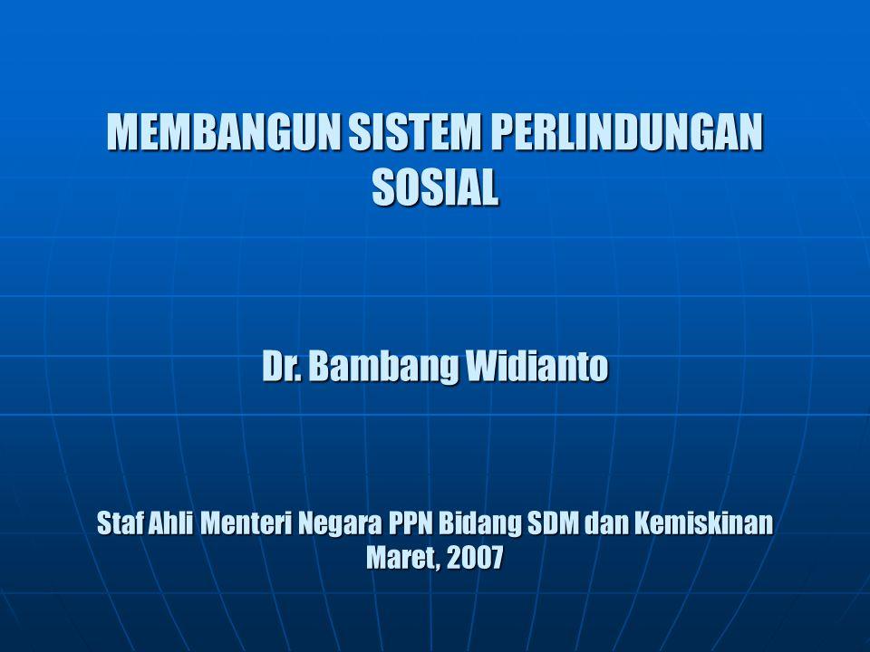 MEMBANGUN SISTEM PERLINDUNGAN SOSIAL Dr. Bambang Widianto Staf Ahli Menteri Negara PPN Bidang SDM dan Kemiskinan Maret, 2007