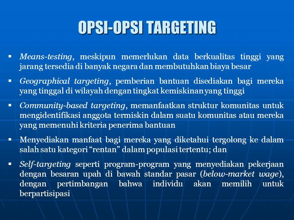 OPSI-OPSI TARGETING  Means-testing, meskipun memerlukan data berkualitas tinggi yang jarang tersedia di banyak negara dan membutuhkan biaya besar  G