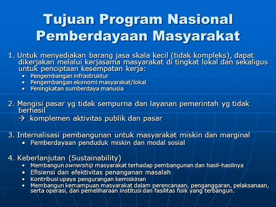 Tujuan Program Nasional Pemberdayaan Masyarakat 1. Untuk menyediakan barang jasa skala kecil (tidak kompleks), dapat dikerjakan melalui kerjasama masy