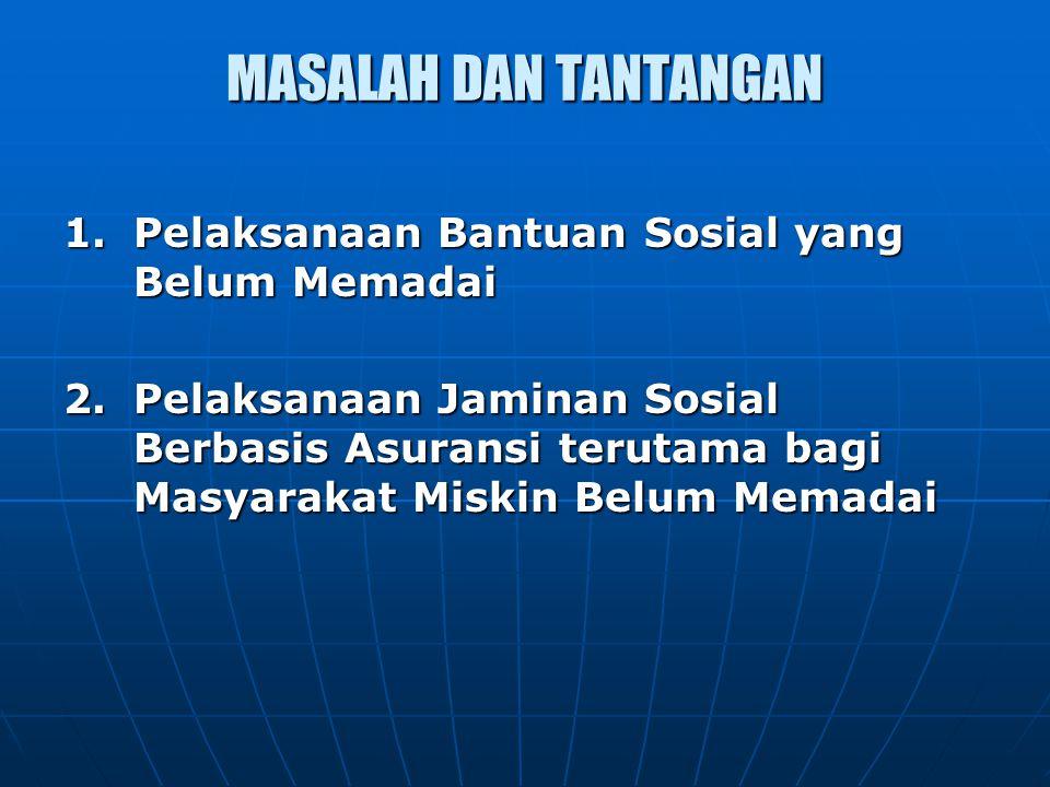 MASALAH DAN TANTANGAN 1.Pelaksanaan Bantuan Sosial yang Belum Memadai 2.Pelaksanaan Jaminan Sosial Berbasis Asuransi terutama bagi Masyarakat Miskin B