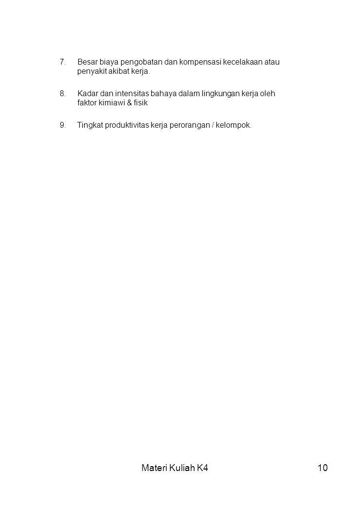 Materi Kuliah K410 7.Besar biaya pengobatan dan kompensasi kecelakaan atau penyakit akibat kerja. 8.Kadar dan intensitas bahaya dalam lingkungan kerja