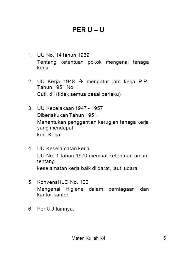 Materi Kuliah K415 PER U – U 1.UU No. 14 tahun 1969 Tentang ketentuan pokok mengenai tenaga kerja 2.UU Kerja 1948  mengatur jam kerja P.P. Tahun 1951