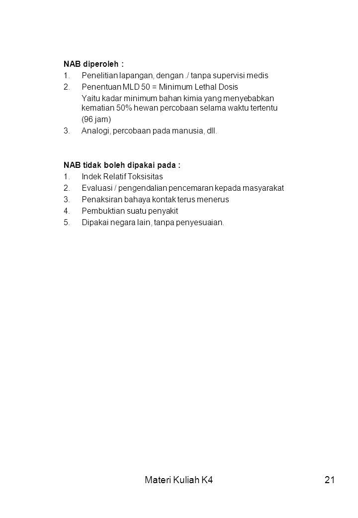 Materi Kuliah K421 NAB diperoleh : 1.Penelitian lapangan, dengan./ tanpa supervisi medis 2.Penentuan MLD 50 = Minimum Lethal Dosis Yaitu kadar minimum