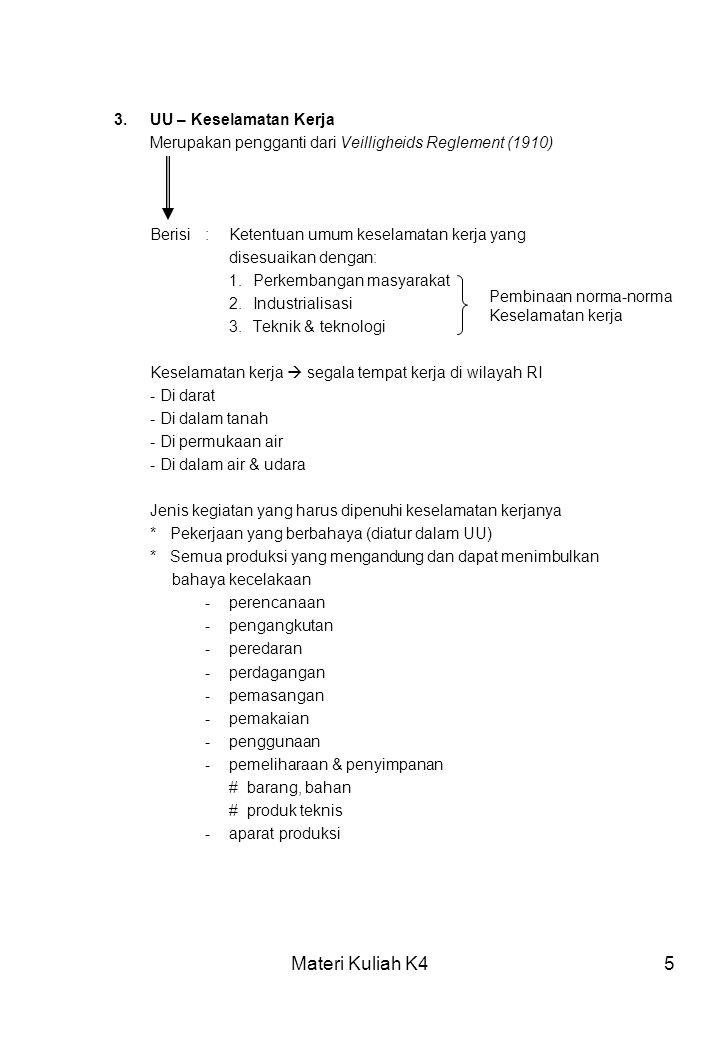 Materi Kuliah K45 3.UU – Keselamatan Kerja Merupakan pengganti dari Veilligheids Reglement (1910) Berisi : Ketentuan umum keselamatan kerja yang dises