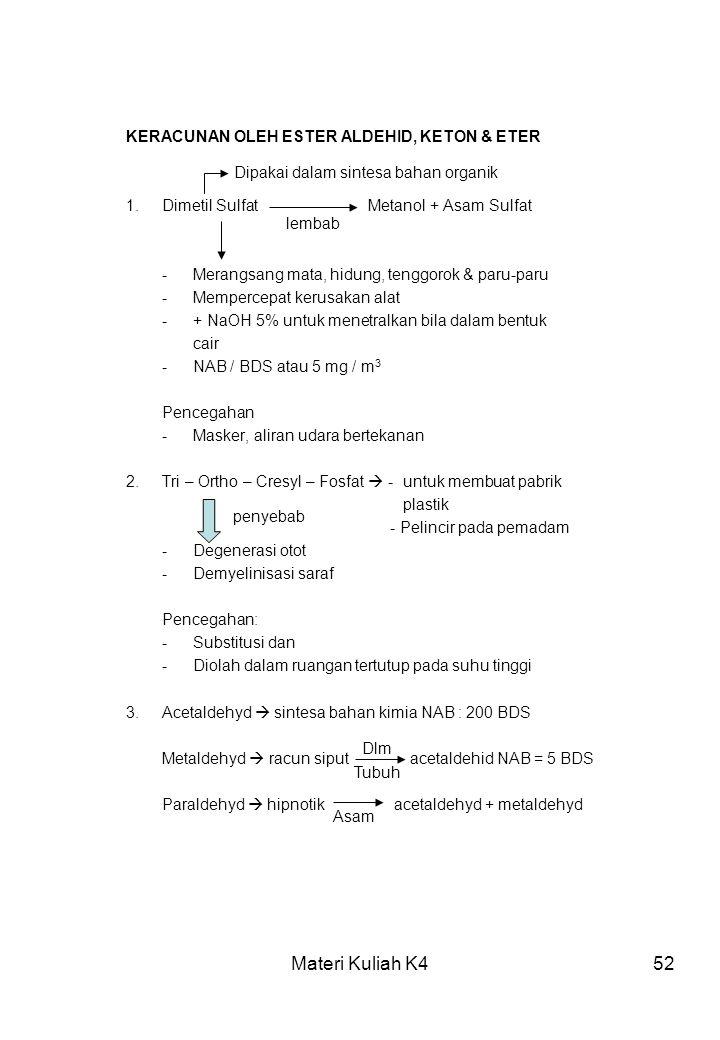 Materi Kuliah K452 KERACUNAN OLEH ESTER ALDEHID, KETON & ETER 1.Dimetil Sulfat Metanol + Asam Sulfat -Merangsang mata, hidung, tenggorok & paru-paru -