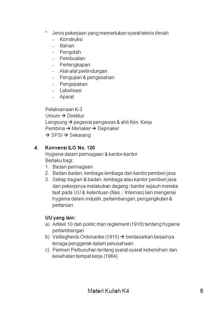 Materi Kuliah K497 SINAR ULTRA VIOLET Sumber:- Pengelasan pada suhu tinggi - Lampu pijar - Sinar matahari Efek:Mata (konjungtivitis foto elektrika) Resiko:- Bintang film - Laboran - Sterilisasi Pencegahan:- Kaca mata - Menghindari SINAR RO & SINAR GAMMA Sumber:- Alat-alat dan logam - Keperluan medis Efek: - Sistim hemopoitik - Leukemia - Luka bakar Resiko: Pekerja medis Pencegahan / pengendalian : :- Dosimeter (100 mRad / bulan) - Mengurangi waktu kerja SINAR RADIOAKTIF Sinar radioaktif menyebabkan penyakit akut & kronis tergantung Dari dosis yang diterima.