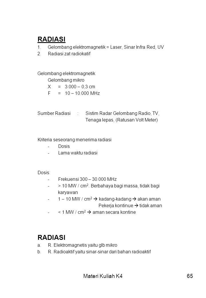 Materi Kuliah K465 RADIASI 1.Gelombang elektromagnetik = Laser, Sinar Infra Red, UV 2.Radiasi zat radiokatif Gelombang elektromagnetik Gelombang mikro