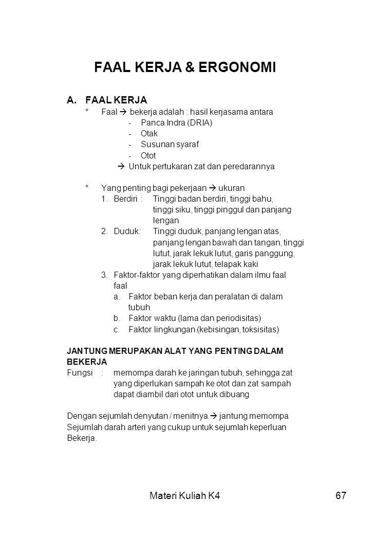 Materi Kuliah K467 FAAL KERJA & ERGONOMI A.FAAL KERJA *Faal  bekerja adalah : hasil kerjasama antara -Panca Indra (DRIA) -Otak -Susunan syaraf -Otot