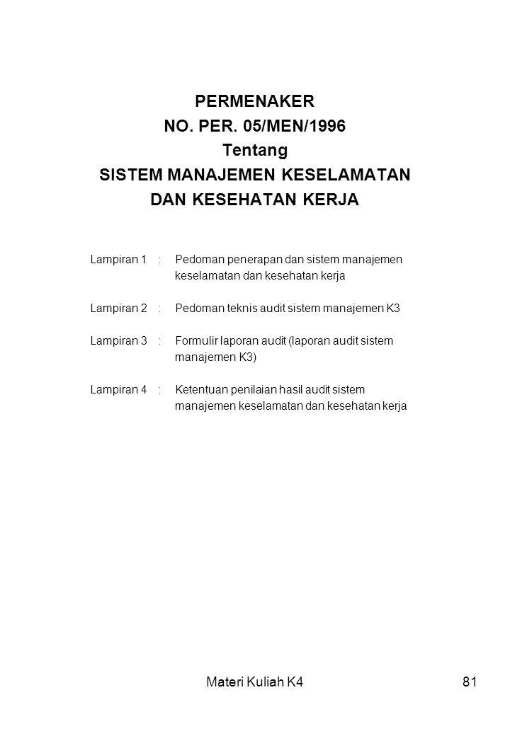 Materi Kuliah K481 PERMENAKER NO. PER. 05/MEN/1996 Tentang SISTEM MANAJEMEN KESELAMATAN DAN KESEHATAN KERJA Lampiran 1:Pedoman penerapan dan sistem ma