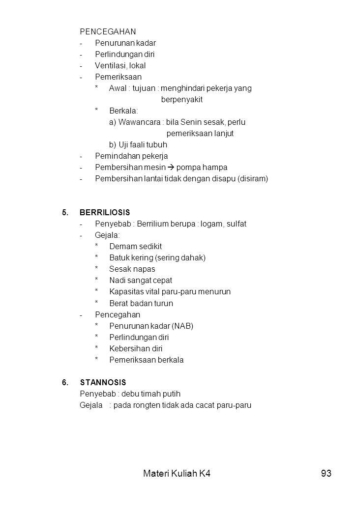 Materi Kuliah K493 PENCEGAHAN -Penurunan kadar -Perlindungan diri -Ventilasi, lokal -Pemeriksaan *Awal : tujuan : menghindari pekerja yang berpenyakit