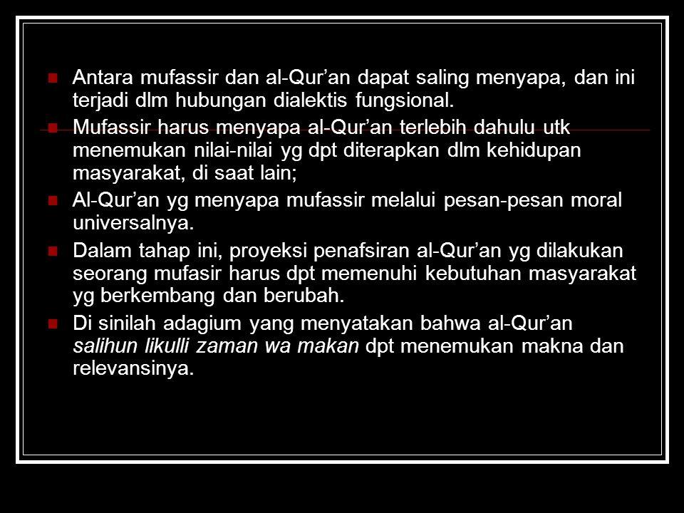 Antara mufassir dan al-Qur'an dapat saling menyapa, dan ini terjadi dlm hubungan dialektis fungsional. Mufassir harus menyapa al-Qur'an terlebih dahul