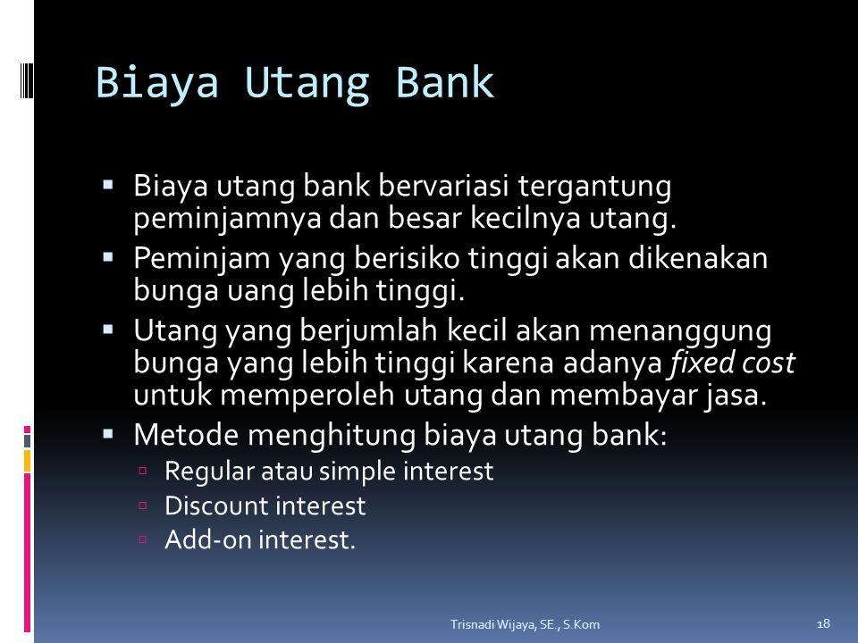 Biaya Utang Bank  Biaya utang bank bervariasi tergantung peminjamnya dan besar kecilnya utang.