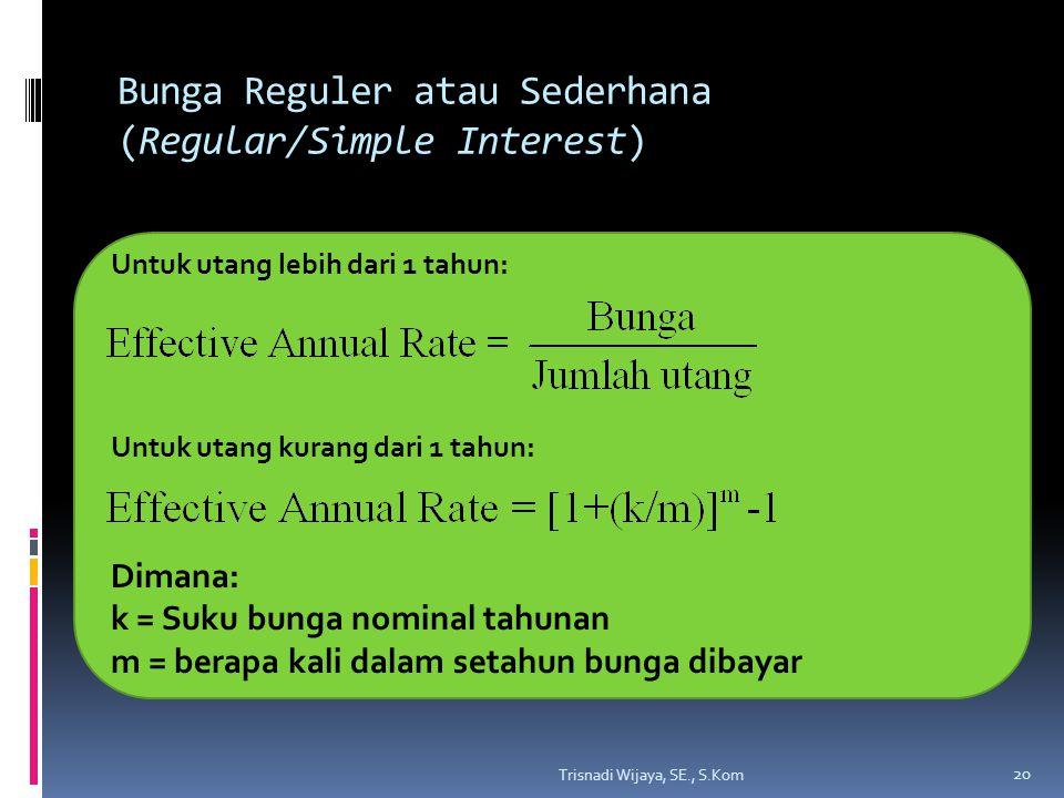 Bunga Reguler atau Sederhana (Regular/Simple Interest) Trisnadi Wijaya, SE., S.Kom 20 Untuk utang lebih dari 1 tahun: Untuk utang kurang dari 1 tahun: Dimana: k = Suku bunga nominal tahunan m = berapa kali dalam setahun bunga dibayar