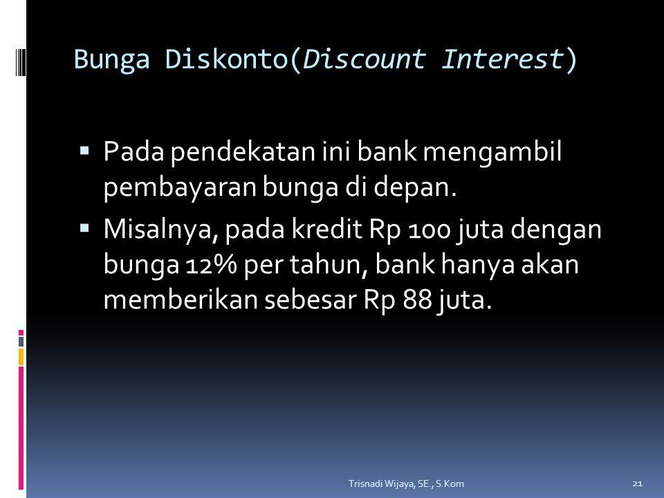 Bunga Diskonto(Discount Interest)  Pada pendekatan ini bank mengambil pembayaran bunga di depan.
