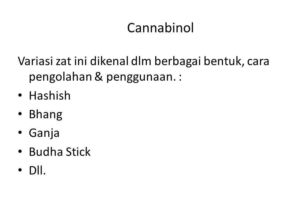 Cannabinol Variasi zat ini dikenal dlm berbagai bentuk, cara pengolahan & penggunaan. : Hashish Bhang Ganja Budha Stick Dll.