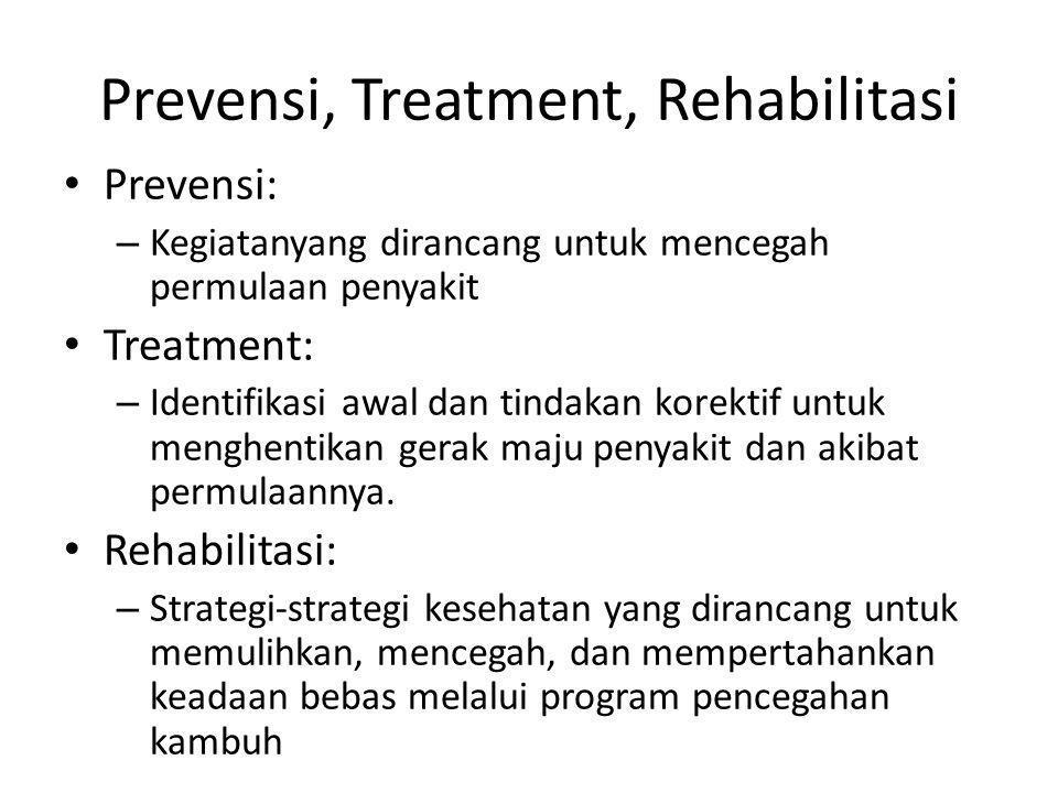 Prevensi, Treatment, Rehabilitasi Prevensi: – Kegiatanyang dirancang untuk mencegah permulaan penyakit Treatment: – Identifikasi awal dan tindakan korektif untuk menghentikan gerak maju penyakit dan akibat permulaannya.