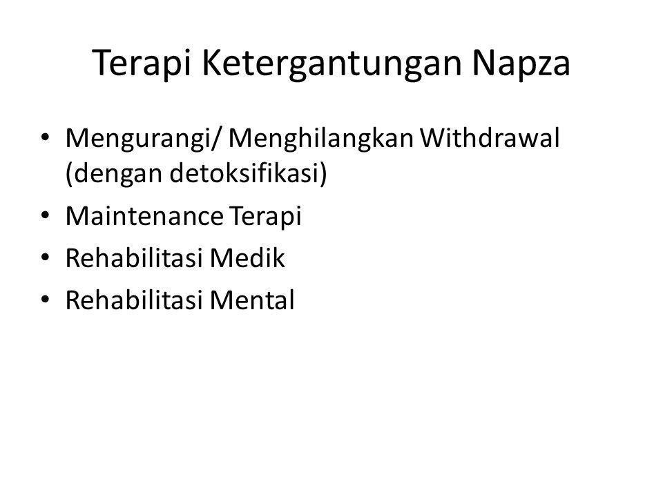 Terapi Ketergantungan Napza Mengurangi/ Menghilangkan Withdrawal (dengan detoksifikasi) Maintenance Terapi Rehabilitasi Medik Rehabilitasi Mental
