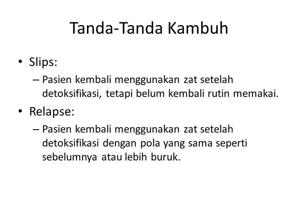 Tanda-Tanda Kambuh Slips: – Pasien kembali menggunakan zat setelah detoksifikasi, tetapi belum kembali rutin memakai. Relapse: – Pasien kembali menggu