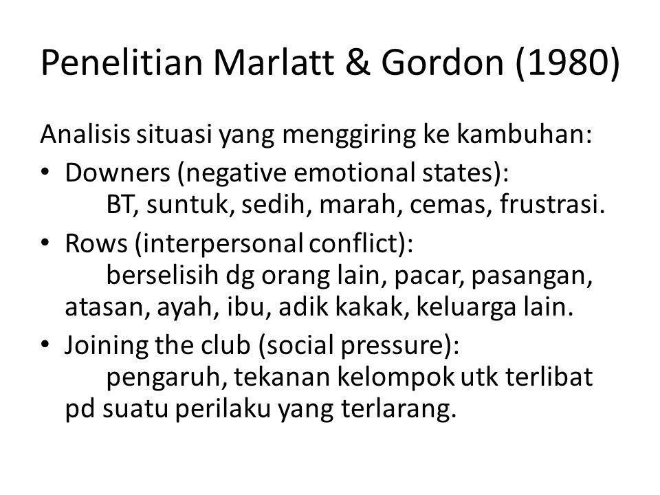 Penelitian Marlatt & Gordon (1980) Analisis situasi yang menggiring ke kambuhan: Downers (negative emotional states): BT, suntuk, sedih, marah, cemas,