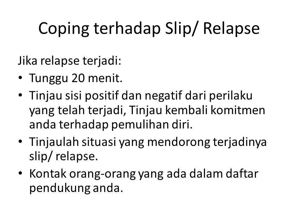 Coping terhadap Slip/ Relapse Jika relapse terjadi: Tunggu 20 menit. Tinjau sisi positif dan negatif dari perilaku yang telah terjadi, Tinjau kembali